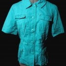 CHICO'S Light Jacket 1 (S/M) Teal Green short sleeve ButtonUp Camp shirt CoverUp