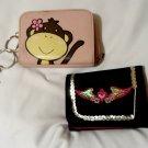 2 Girls Wallets Black Angel Wings & Pink Monkey Friends money ID cardholders toy