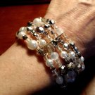 "VICTORIAN BAROQUE Vintage Beaded Bracelet Silver White Octagonal 8""-10"" 5 Strand"