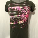 IDEOLOGY Sporty Athletic T-shirt Top XS Olive Green Neon pink Swirls design Jog