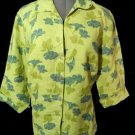 CUT LOOSE 100% Linen Shirt Blouse Top M Green Blue floral 3/4 sleeve ButtonUp
