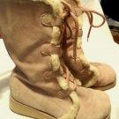 ROXY SNOWCAP Winter Boots womens 6.5 Pink Suede fur Mid Calf Platform Skate Shoe