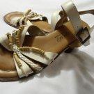 ROMANO Brazilian Leather Beaded Sandals womens 6.5 White Tahitian slingback shoe