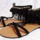 QUPID Archer Gladiator Sandals women 7 FRINGE Braided T strap Black Silver chain