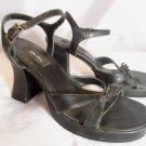 XHILARATION Ankle Strap Heels womens 7 Black Bow detail Dress Shoe Sandal Casual