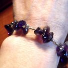 "Handcrafted AMETHYST Stone Bracelet 8"" Purple polished Strand Healing Jewelry"