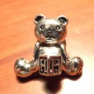"Mini TEDDY BEAR Broach Pin letter ""H"" Silver tone Pewter? Tie Tack size VINTAGE"