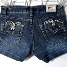 BB Jean Shorts 3 Dark wash Rhinestone Leopard pocket LowRise Designer Sexy mini