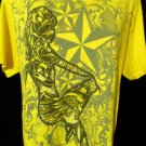 SEXY LADY Tattoo T-shirt M Yellow Gray star Short sleeve Low Rider Modern Biker