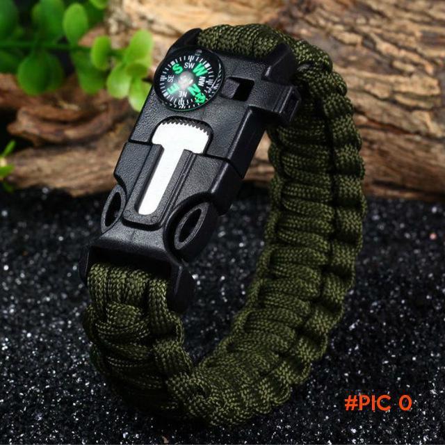 Outdoor Survival Bracelet Flint Fire Starter Gear Escape Paracord Whistle Cord Buckle Camp
