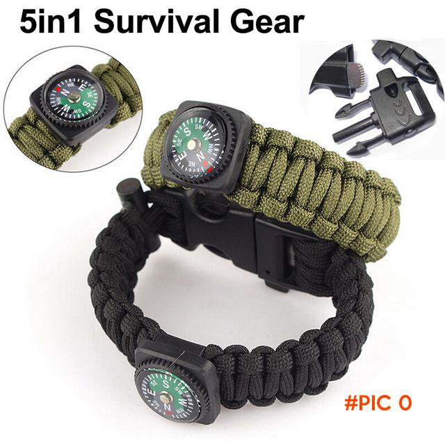 5 in1 Survival Flint Fire Starter,Paracord Whistle Gear Buckle Camping Ignition Equipment,