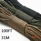 Paracord 550 Parachute Cord Lanyard Rope Mil Spec Type III 7 Strand 100FT 31m Climbing Cam
