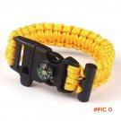 6 Color Hot Outdoor Camping Rope Paracord Survival Bracelet Flint Fire Starter Buckle Comp