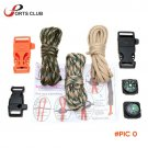 3Pcs 10FT 7Strand Parachute Cordwith Flint Stone Whistle Buckle Compass Lanyard Rope Wear