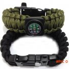 Outdoor New 5 in 1 Survival Flint Fire Starter Paracord Whistle Gear Buckle Camping Igniti