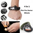 2016 New 4 in 1 Flint Fire Starter Whistle,Outdoor Camping Survival Gear Buckle Travel Kit