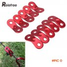 10Pcs Camping Tent Guy Rope Line Bent Red Aluminum Alloy Runners Accessory BC764