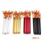 New 10Pcs 18cm Aluminum Alloy Outdoor Camping Trip Ground Stake Nail Pin Tent Pegs + Ropes