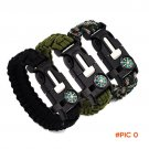 1pcs Survival Bracelet Flint Fire Starter Gear Escape Paracord Whistle Cord Buckle Camping