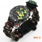 Outdoor camping MulticamTravel Kit Watch With survival Flint Fire starter paracord Compass