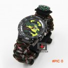 Latest Arrival Outdoor camping Travel Kit Watch With survival Flint Fire starter paracord
