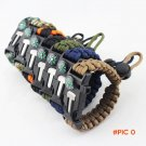 Outdoor Adjustable Survival Bracelet Flint Fire Starter Gear Escape Whistle Cord Buckle Ca