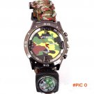 Multicam Outdoor camping Travel Kit Watch + survival Flint Fire starter + Compass + rescue