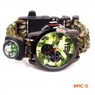 Multicam Outdoor camping Travel Kit Watch paracord + survival Flint Fire starter + Compass