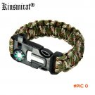 Useful Survival Bracelet With Compass Flint Fire Starter Gear Escape Paracord Whistle Cord