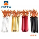 AOTU New 6pcs 18cm 700I Aluminium Alloy Tent Peg Nail Stake with Rope Camping Equipment Ou