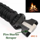 Paracord Rescue Rope Escape Bracelet 4 in 1 Flint Fire Starter Whistle Outdoor Camping Sur