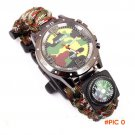 New Come Multicam Outdoor camping Travel Kit Watch With survival Flint Fire starter paraco