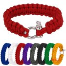 Outdoor Paracord Survival Bracelet With Zinc Alloy Bow Shackle Rope Camping BC2299