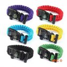 EDC Hiking Camping Navigation Multi purpose Rope Paracord Survival Bracelet Flint Fire Sta