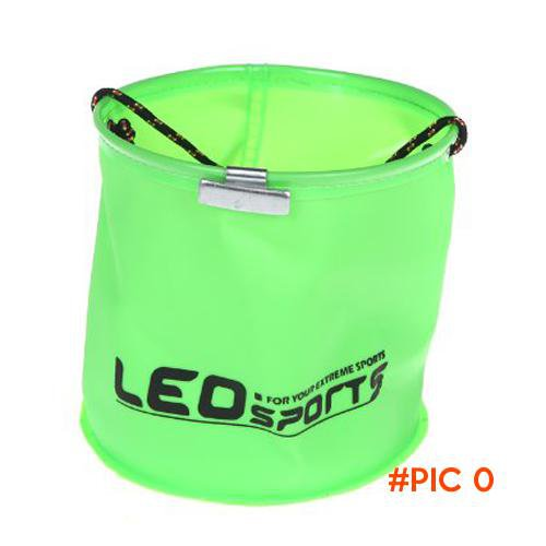 KSOL LEO 18*17cm Foldable EVA Water Bucket with Rope Belt Outdoor Fishing Tackle Camping (