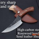 Very sharp High-carbon steel Hand made fixed hunting knife 24cm 58HRC Rosewood handle surv