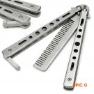 Silver Practice Butterfly Knife Trainer Folding Knife Dull Tool outdoor camping knife comb