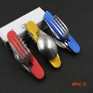 6 in 1 Folding Portable Stainless Steel Camping Picnic Cutlery Knife Fork Spoon Flatware T