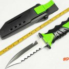 2 Options! Outdoor Diving Knife,440C Blade Rubber Handle Stain Polish Hunting Fixed Knives