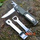 Multifunctional camping tool Tableware Spoon Fork Stainless Steel Knife Folding life-savin
