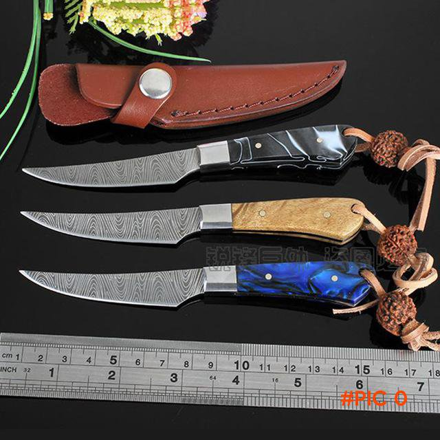 New survival knife Imitation Damascus pattern handmade hunting knife Stainless Steel campi