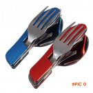 Durable 3-in-1 outdoor travel camping hiking pocket folding spoon fork knife BC1342