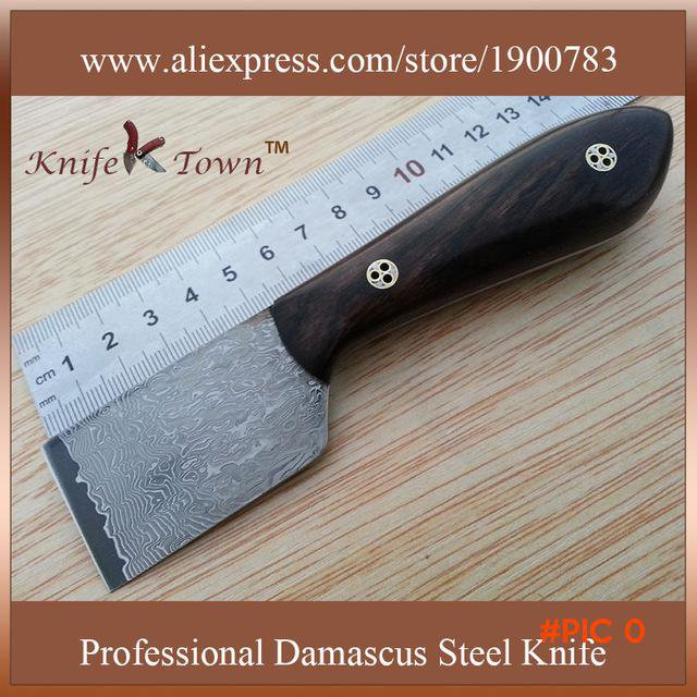 DT006 Vg10 damascus steel blade ebony wood handle high quality leather cutting knife campi