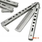 Silver Practice Butterfly Knife Trainer  Folding Knife Dull Tool outdoor camping knife com