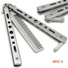 Cool Silver Practice Butterfly Knife Trainer Folding Knife Dull Tool outdoor camping knife