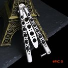 Hot Silver Metal Practice Butterfly Trainer Training Knife Dull Tool with Sheath Folding K