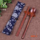 New High Quality Wooden Spoon Chopsticks Portable Outdoor Travel Kit Korean Floral Bag Loa