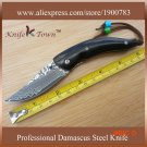 DS092 mini edc damascus steel knife ox horn handle pocket knife utility knife faca Camping