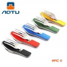 Travel Folding Knife And Fork Spoon Outdoor Camping Multifunctional Picnic Tableware Set S