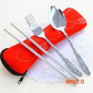 Spring New 3 Pcs Fork Spoon Chopsticks Travel Stainless Steel Cutlery Portable Camping Bag